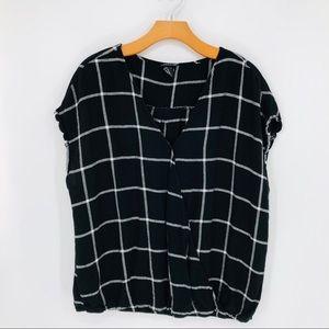Torrid Plaid Short Sleeve V-neck Wrap Blouse